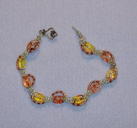 Orange and Yellow Glass Bead Bracelet