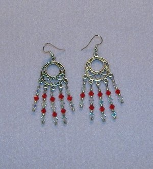 Small Red and Ab Swarovski Crystal Chandelier Earrings
