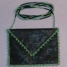 Emerald Beaded Embossed Faux Leather Amulet Bag