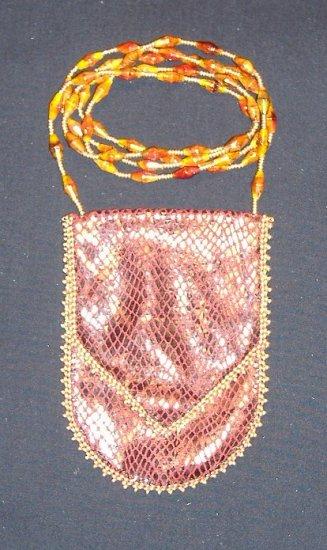 Red Faux Snakeskin Amulet Bag