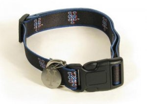 New York Mets Logo Dog Collar with ID Tag Size Small