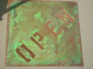 "Copper OPEN and CLOSED sign 12"" x 12"" Diamond shape"