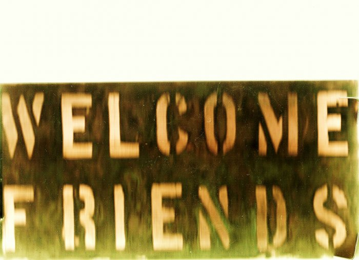 "Copper WELCOME FRIENDS sign 6"" x 12"""