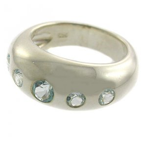 925 Sterling Ring with Genuine Topaz Gems