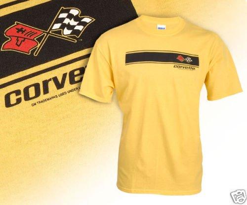 C3 Corvette Emblem and Black Striped Yellow T-Shirt - L