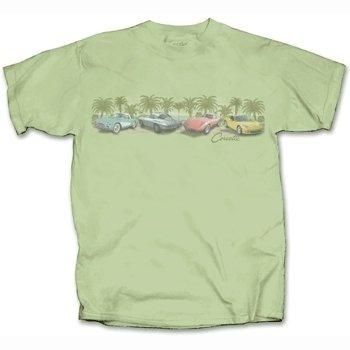 Corvettes Among the Palms on a Sage Green T-Shirt - XL