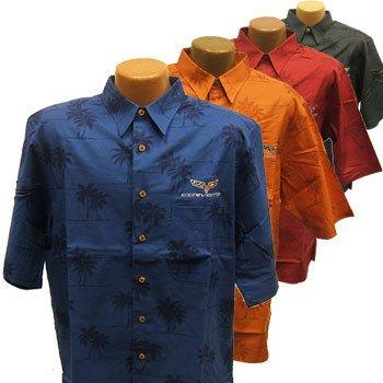 C6 Corvette Palm Print Cotton Hawaiian Shirt - L