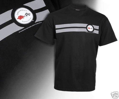 C1 Corvette Emblem and Silver Striped Black T-Shirt - 2XL