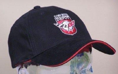 Corvette Depot Brushed Cotton Sandwich Brim Hat - Black