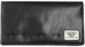 Corvette C5 Checkbook Cover - Black Leather