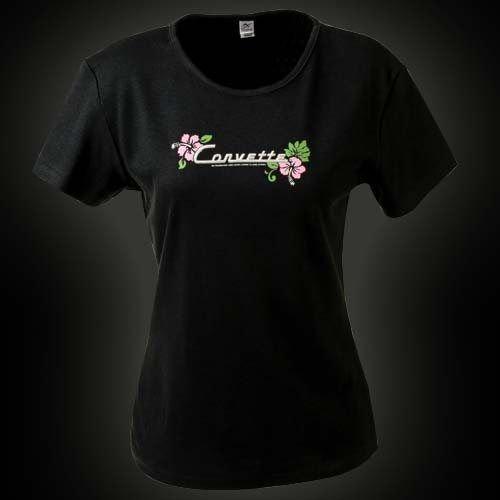 Women's Black Corvette Floral Cap Sleeve T-Shirt - L