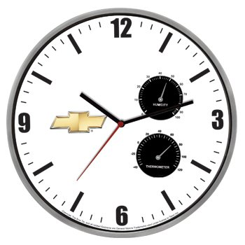 Chevrolet Metal Case Weather Station Wall Clock