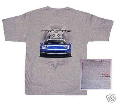 C6 Blue Corvette Front View T-Shirt - 2XL