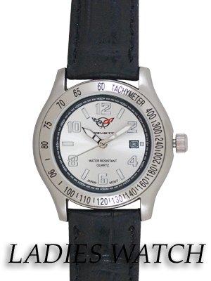 Women's Corvette Leather Band Calendar Watch