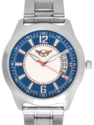 Men's Corvette Blue Face Calendar Watch with Metal Band