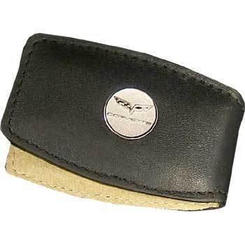 C6 Corvette Round Logo Black Leather Money Clip