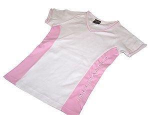 Women's Corvette Pink and White V-Neck  Shirt - M