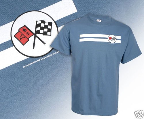 C2 Corvette Emblem and White Striped Blue T-Shirt - L