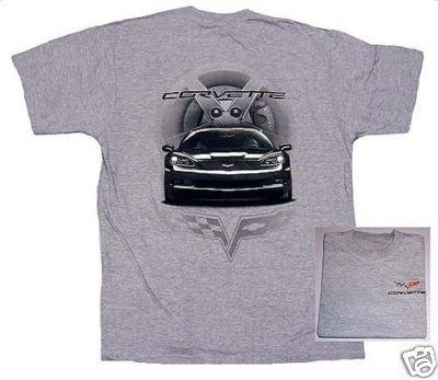 C6 Black Corvette Front View T-Shirt - L