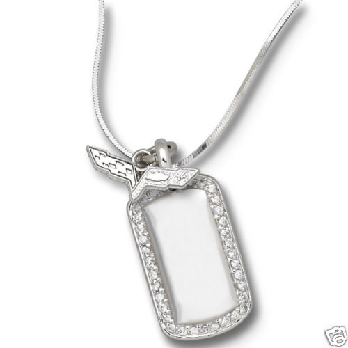 C6 Corvette Sterling Silver Necklace, Pendant & Dog Tag