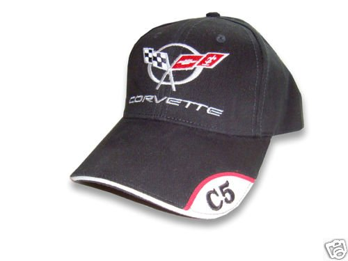 C5 Corvette Black Brushed Twill Hat with Brim Emblem