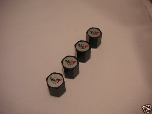 C5 Corvette Logo Valve Stem Caps - Black - (Set of 4)