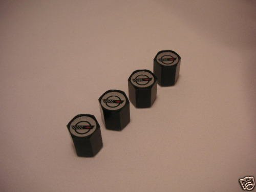 C4 Corvette Logo Valve Stem Caps - Black - (Set of 4)