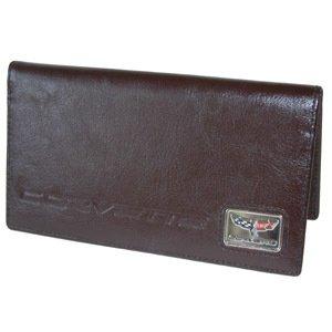 Corvette C6 Checkbook Cover - Brown Leather