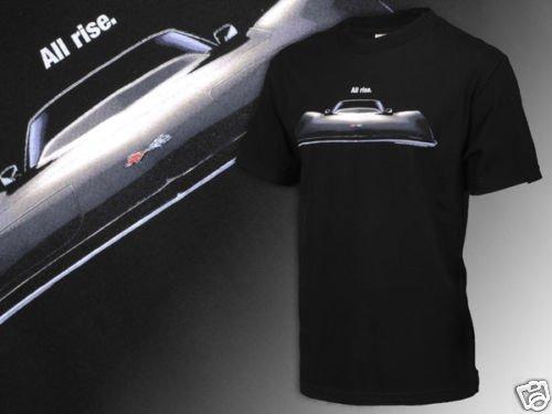 """C3 Corvette """"All Rise"""" Black Front View T-Shirt - M"""