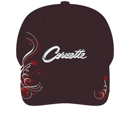 Women's Black Corvette Script Hat with Rhinestones