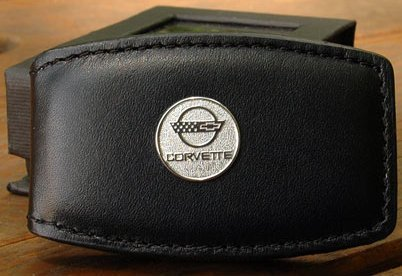 C4 Corvette Round Logo Black Leather Money Clip