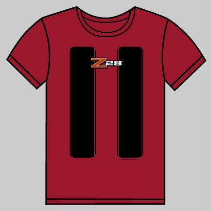 Camaro Z28 Red with Black Stripes T-Shirt - L