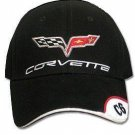 C6 Corvette Black Brushed Twill Hat with Brim Emblem