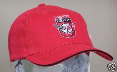 Corvette Depot Brushed Cotton Sandwich Brim Hat - Red
