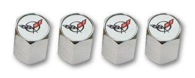C5 Corvette Logo Valve Stem Caps - Chrome - (Set of 4)
