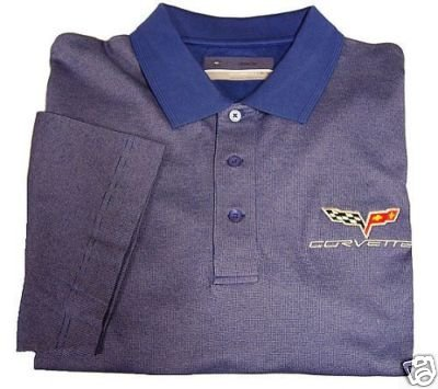 C6 Corvette C&B Birdseye Blue Emboidered Polo Shirt - M