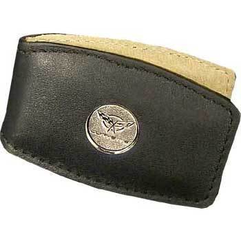 C3 Corvette Round Logo Black Leather Money Clip