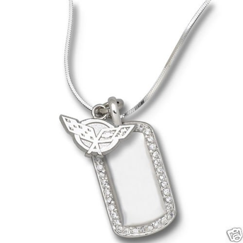 C5 Corvette Sterling Silver Necklace with Pendant and Dog Tag