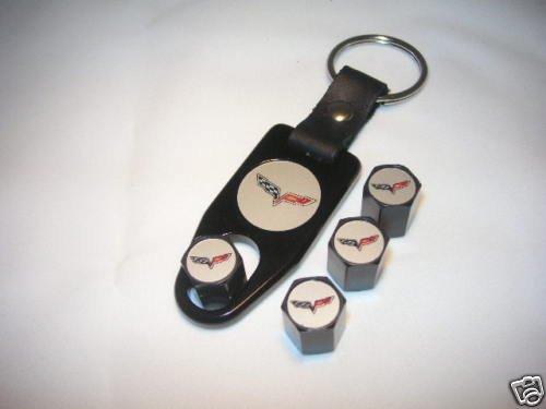 C6 Corvette Logo Valve Stem Cap - Black - Gift Set