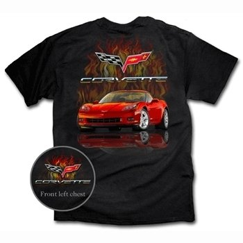 C6 Red Corvette with Flames on a Black T-Shirt - M