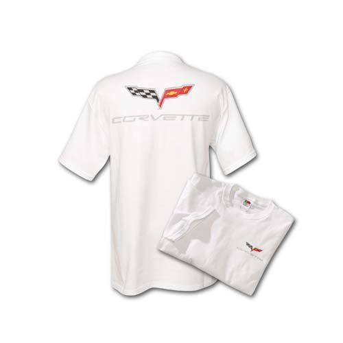 C6 Corvette White Silk Screened T-Shirt - M