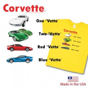 "Children's ""One Vette, Two Vette"" Yellow T-Shirt- 14-16"