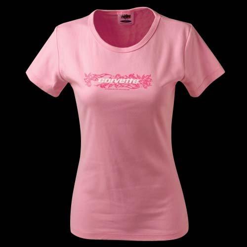 Women's Pink Corvette Floral Cap Sleeve T-Shirt - L
