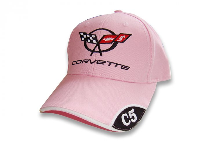 C5 Corvette Pink Brushed Twill Hat with Brim Emblem