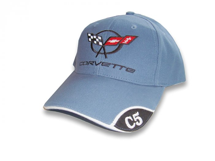 C5 Corvette Blue Brushed Twill Hat with Brim Emblem