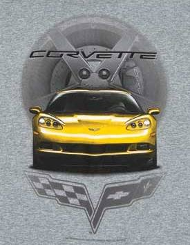C6 Yellow Corvette Front View T-Shirt - L