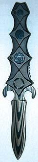 Star Folding Black Athame Dagger