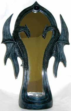 Double Dragon Mirror Candle Holder