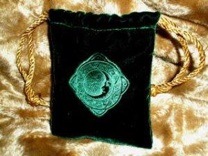 Velvet Embossed Celestial Moon Treasure Bag