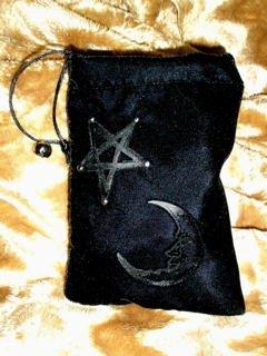 Velvet Embossed Star and Moon Tarot Card Treasure Bag
